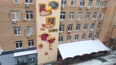 Graffiti on building of British high school of design in Moscow Stock Footage