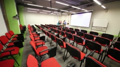 Meeting business room with auditorium and people talk Stock Footage