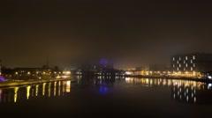 Night timelaps of Neva river, Saint Petersburg, Russia Stock Footage
