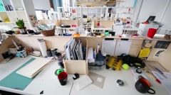 Empty workshop in British high school of design in Moscow Stock Footage