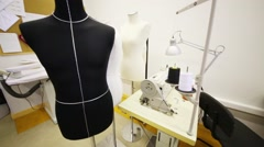 Sewing workshop with mannequins and sewing machine Stock Footage