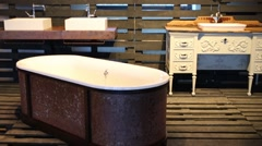 Vintage beautiful bath and sinks in wooden pavilion Stock Footage