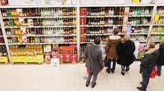 People in Auchan shop in Troika mall in Moscow, Russia. Stock Footage