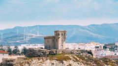 Ancient medieval Castle Tower in Tarifa, Andalusia Spain Stock Photos
