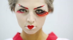 Close up of girl in kimono with make up of Japanese geisha Stock Footage