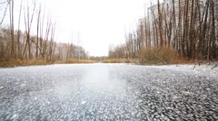 Fast movement on fresh ice on frozen marsh among trees Stock Footage