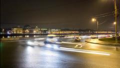 Road traffic night timelaps in Saint Petersburg - stock footage