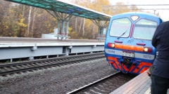 People wait arriving train in Moscow, Russia. Stock Footage
