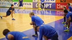 Players prepare for mini-football game Mytishchi - Gazprom Ugra Stock Footage