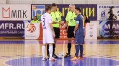 Greeting of teams before mini-football game Mytishchi - Gazprom Ugra Stock Footage