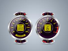 Shiny metallic speedometer and rev counter Stock Illustration