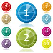 Shiny 3d buttons with countdown - stock illustration