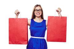 Happy shopaholic Stock Photos