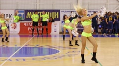 Four girls dance at Russian championship of indoor football game Stock Footage