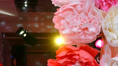 Artificial flowers on holiday Rear flashing light lamp Stock Footage
