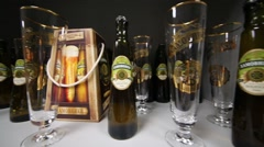 Khamovniki beer and glasses in Moscow Brewing Company plant Stock Footage