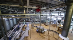 Conveyor, pipes and reservoirs in Moscow Brewing Company plant. Stock Footage