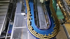 Conveyor with moving canned beer in workshop in brewery Stock Footage
