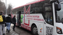 People come to bus of Moscow Brewing Company plant. Stock Footage