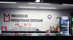 Reception in Moscow Brewing Company in Moscow, Russia Stock Footage