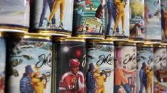 Sports series of canned beer Zhiguli in Moscow, Russia Stock Footage
