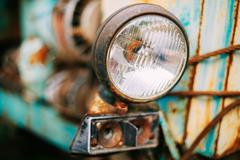 Stock Photo of Close up of old vintage retro cars headlight