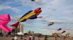 Many kites at Annual International Kite Festival on beach Stock Footage