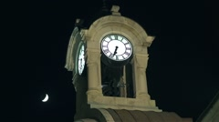 Old clock tower and the moon moves-timelapse Stock Footage