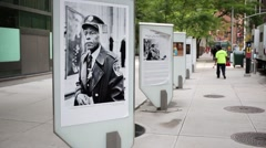 Photo Exhibition on street In New York City, USA. Stock Footage