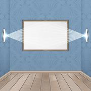 Interior rooms with wooden floor, image, spotlights and seamless wallpaper. Stock Illustration