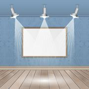 Empty interior rooms with image, sportlights, seamless wallpaper and wooden f Stock Illustration