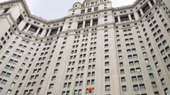 Manhattan Municipal Building and bus in New York City, USA. Stock Footage