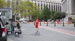 Reporters at Foley Square in New York City, USA. Stock Footage