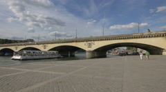 Port de Suffren and Jena Bridge, on a sunny day in Paris - stock footage