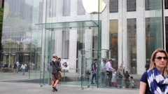 People near Apple store in New York City, USA. Stock Footage