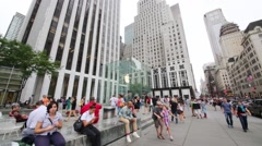 Fifth Avenue and Apple store in New York City, USA. - stock footage