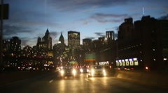 Movement on night road with cars in New York at summer Stock Footage