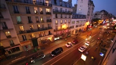 Street at night. France is first in list of tourist destinations in world Stock Footage
