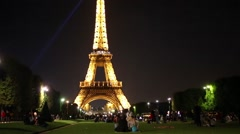Eiffel tower at night, it called most visited paid attraction in world Stock Footage