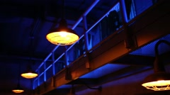 Balconies and lamps at night in jail with blue illumination Stock Footage