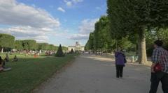 Walking on Avenue Pierre Loti, near the Military School in Paris Stock Footage