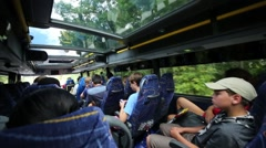 People travel in bus in Washington, USA at autumn Stock Footage