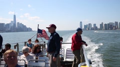Tourists at ship. In 2014 in New York tourism brought economy 61.3 billion Stock Footage