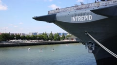 Aircraft Carrier Museum Intrepid and surfers in New York. Stock Footage