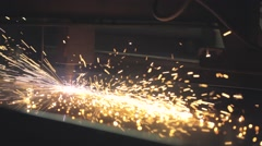 Plasma cutting of a steel plate. Stock Footage