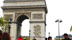 Tourists at Arch of Triumph in Paris - stock footage