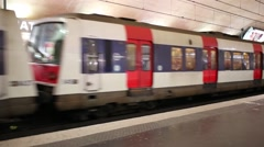 Arrival train in underground in Paris, France. Stock Footage