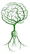 Brain branches light bulb roots - stock illustration