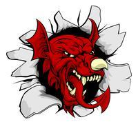 Stock Illustration of Welsh Dragon Smashing Out