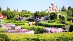 Fountains in Fantasyland of Disneyland in Paris, France at autumn. Stock Footage